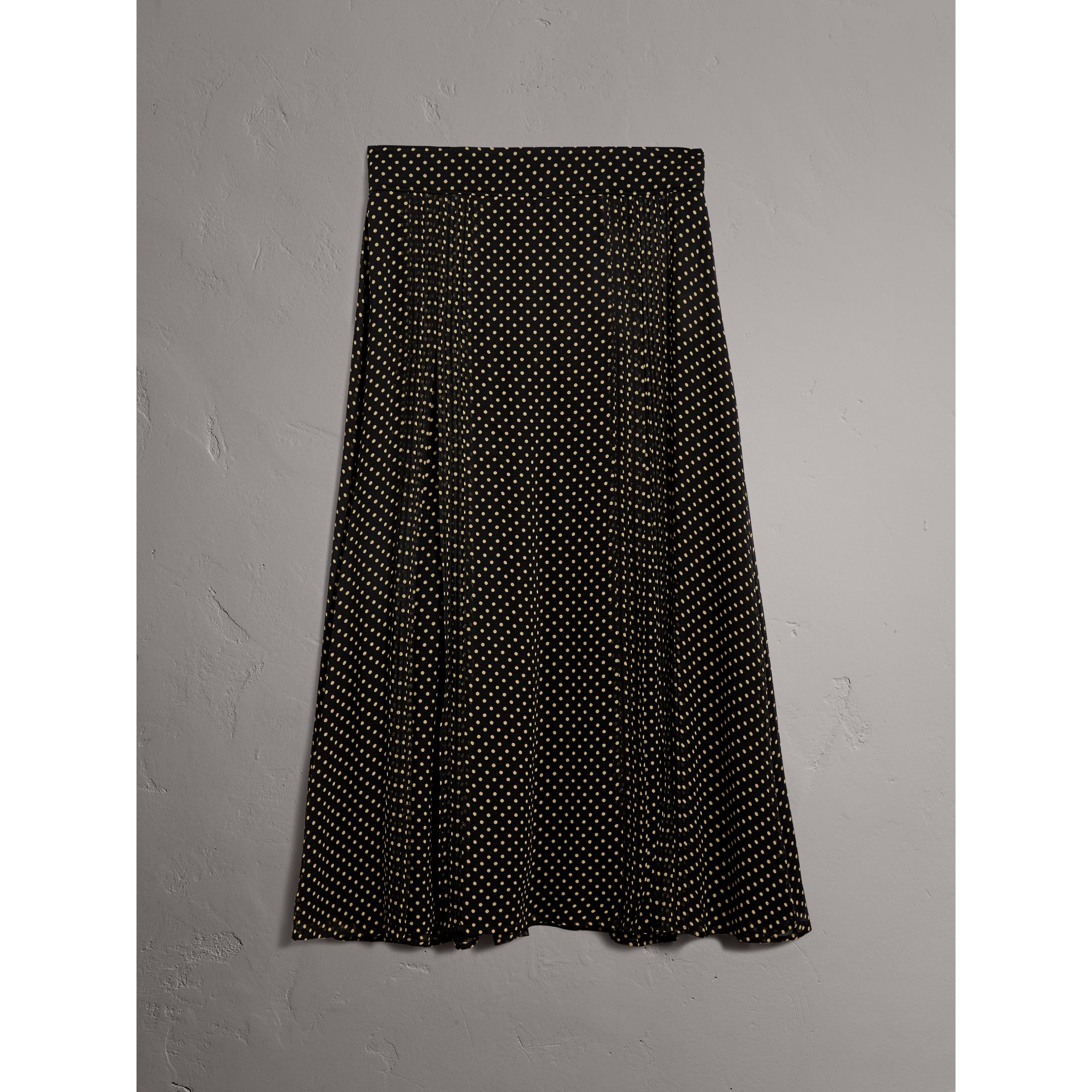 Pintuck Detail Dot Print Silk Skirt in Black - Women | Burberry Singapore - gallery image 3