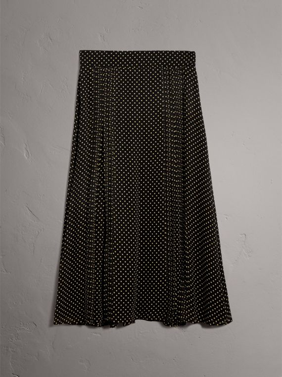 Pintuck Detail Dot Print Silk Skirt in Black - Women | Burberry Singapore - cell image 3