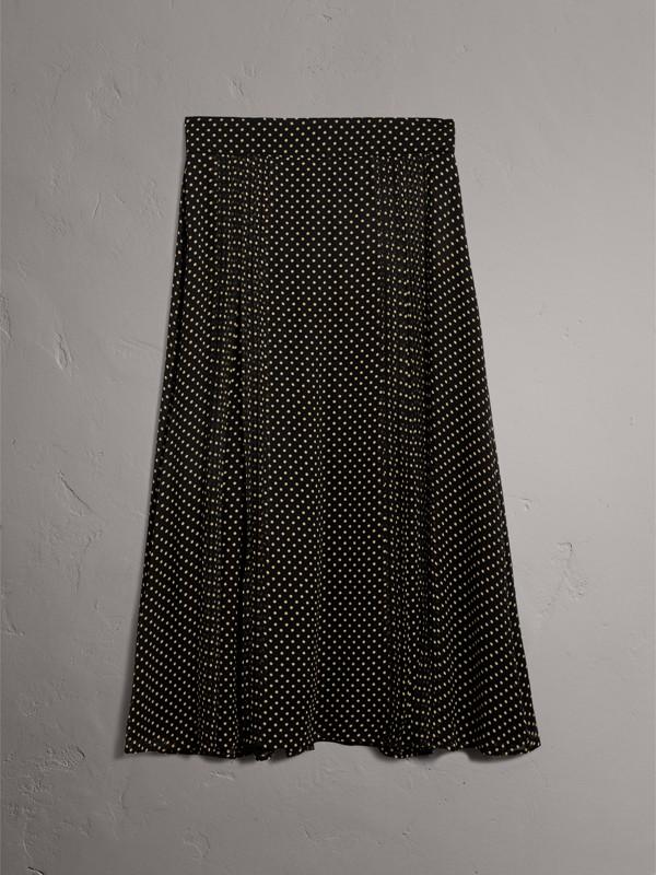 Pintuck Detail Dot Print Silk Skirt in Black - Women | Burberry - cell image 3