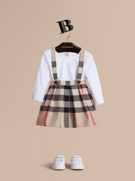 Detachable Strap Check Cotton Skirt in Stone