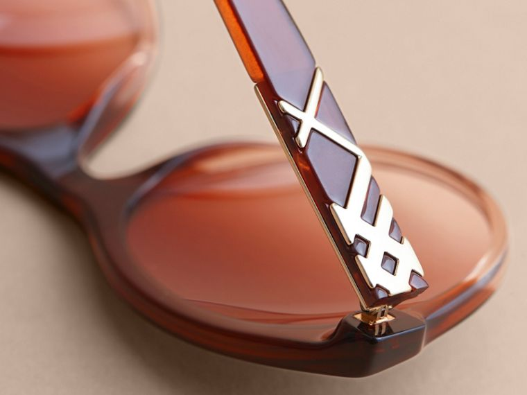 Check Detail Round Frame Sunglasses in Rose - Women | Burberry - cell image 1