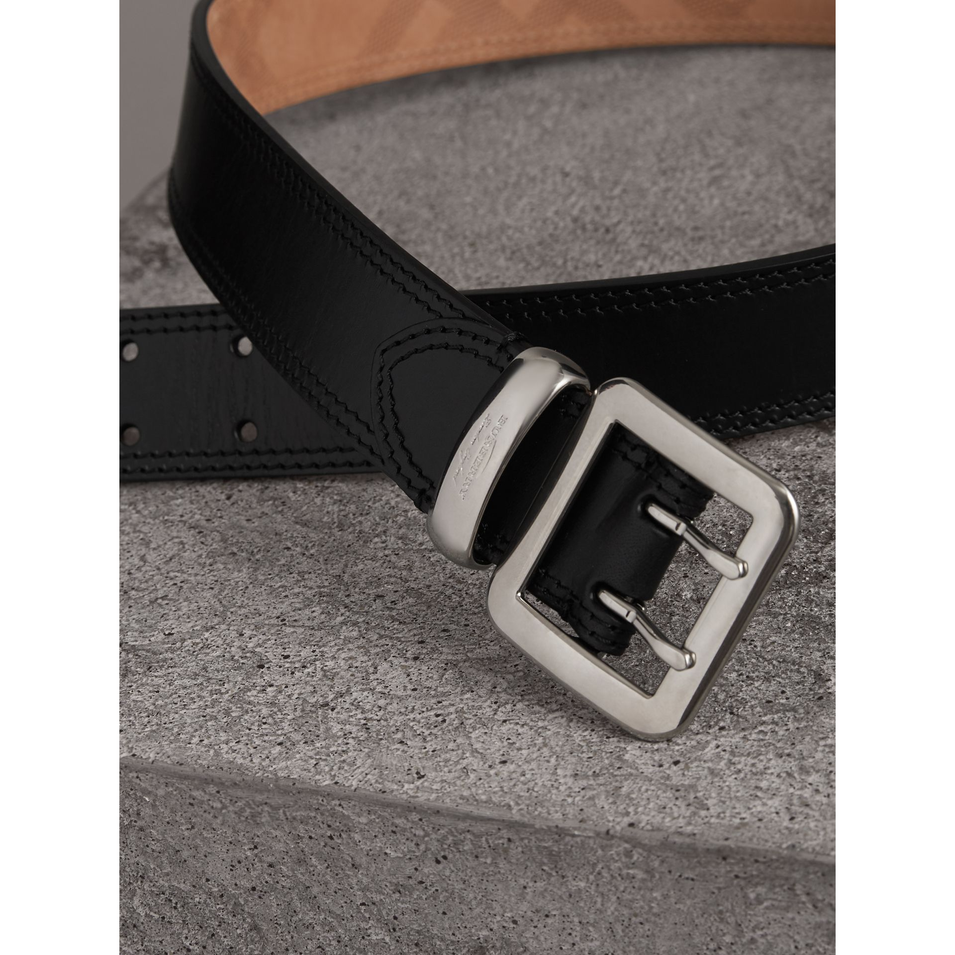 Topstitch Detail Leather Belt in Black - Women | Burberry Canada - gallery image 1