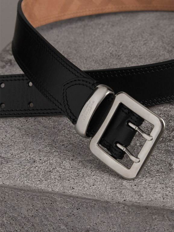 Topstitch Detail Leather Belt in Black - Women | Burberry United Kingdom - cell image 1