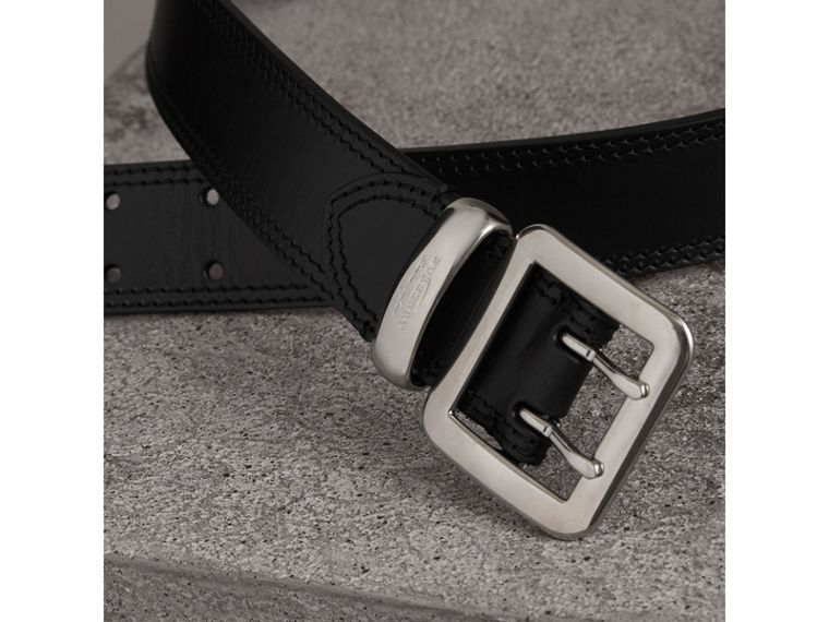 Topstitch Detail Leather Belt in Black - Women | Burberry - cell image 1