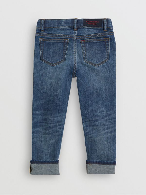 Skinny Fit Stretch Jeans in Mid Indigo - Children | Burberry - cell image 3