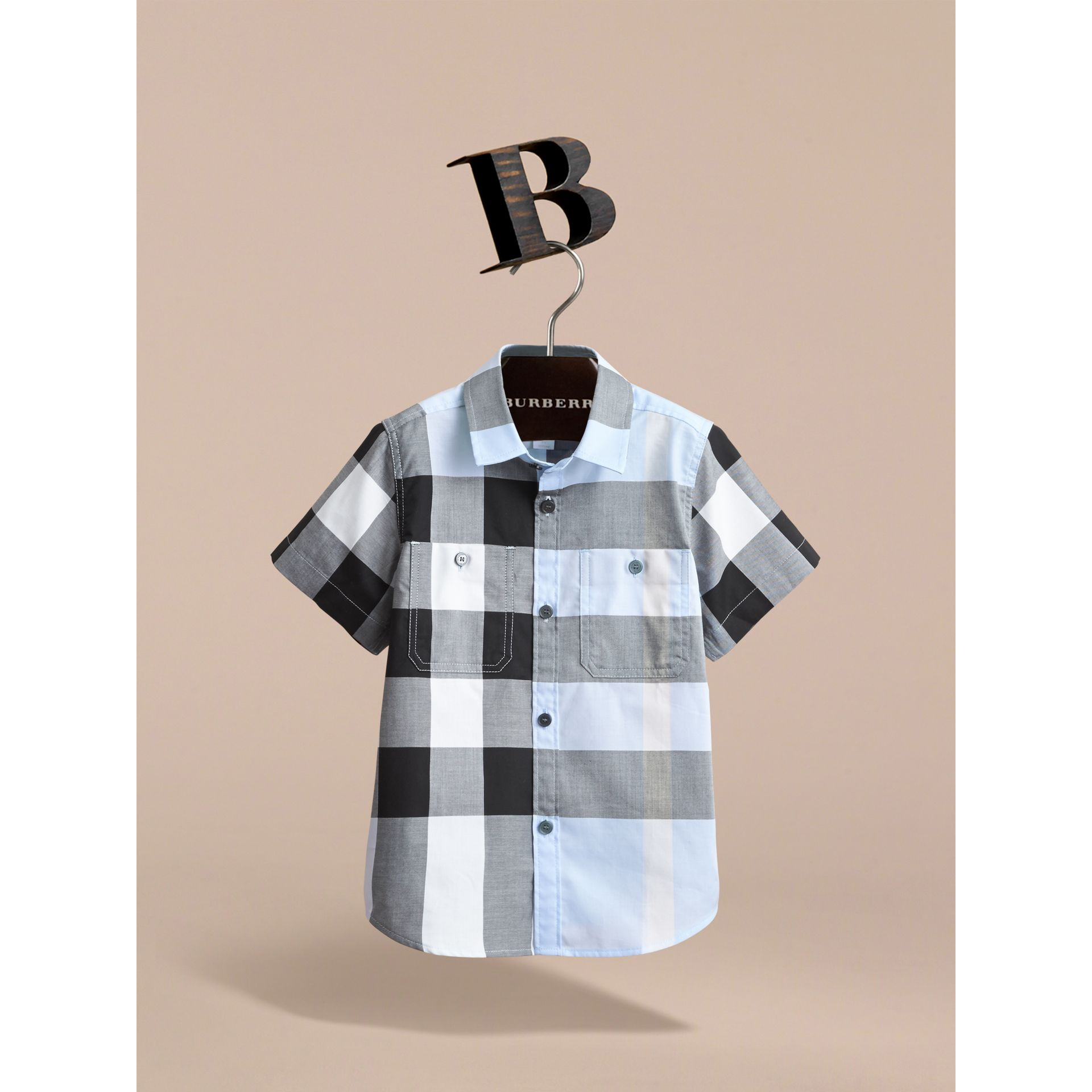 Short-sleeve Check Cotton Shirt in Sky Blue - gallery image 2