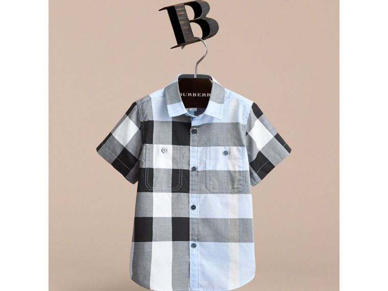 Short-sleeve Check Cotton Shirt in Sky Blue - cell image 1