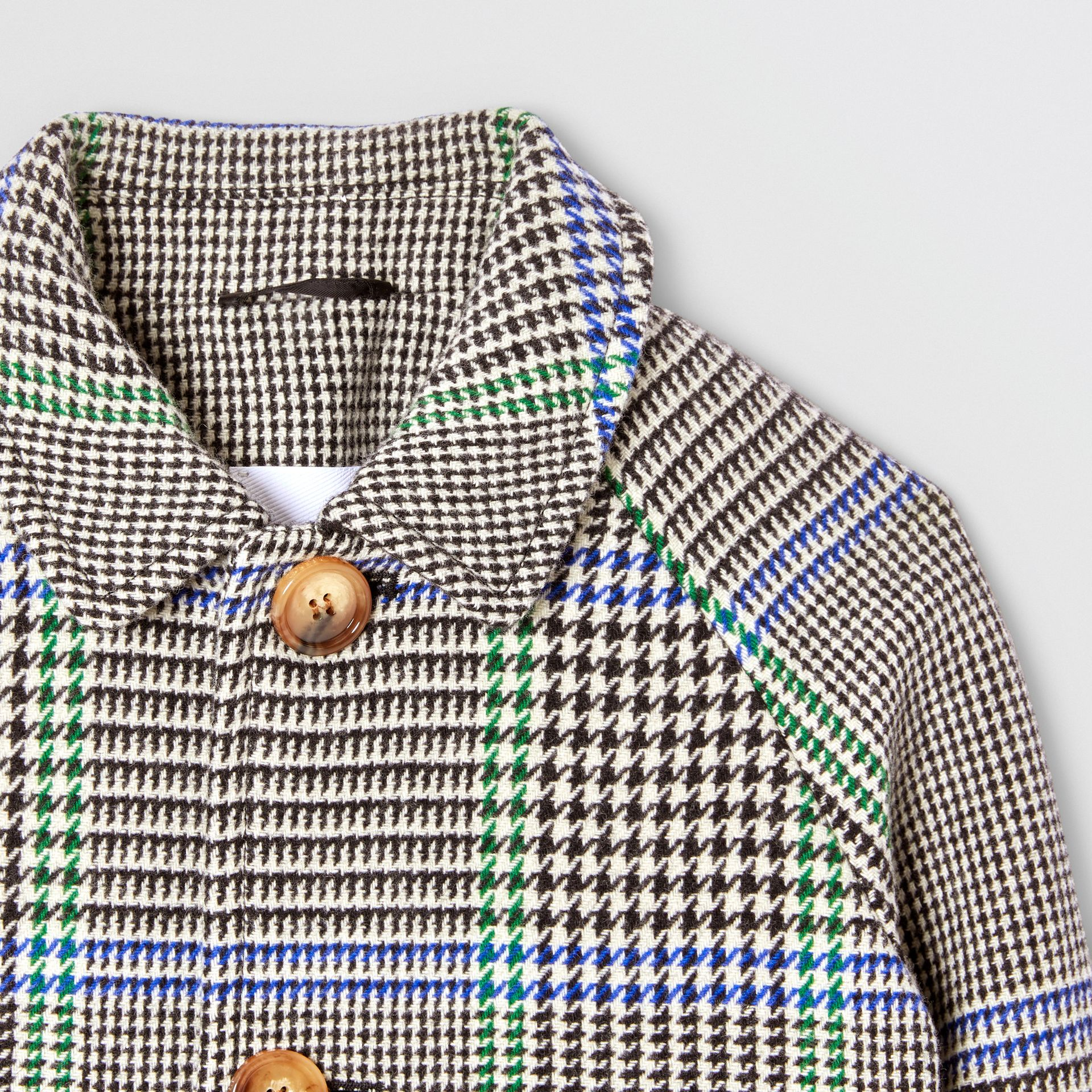 Houndstooth Check Wool Blend Car Coat in Clover Green | Burberry Hong Kong S.A.R - gallery image 4