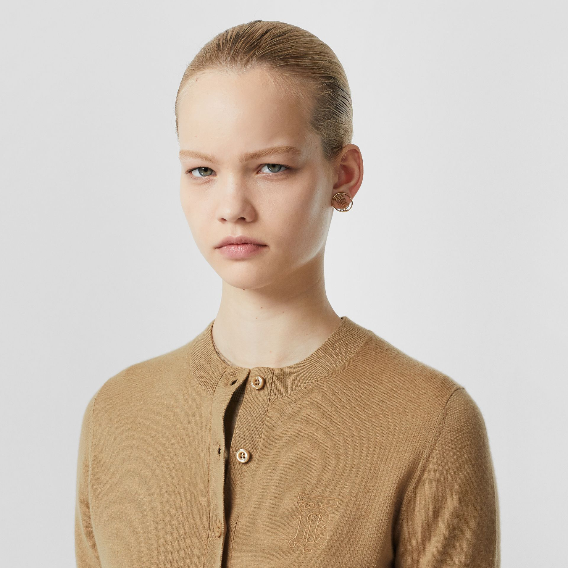 Monogram Motif Cashmere Cardigan in Camel - Women | Burberry - gallery image 1