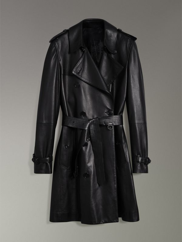 Lambskin Trench Coat in Black - Men | Burberry - cell image 3