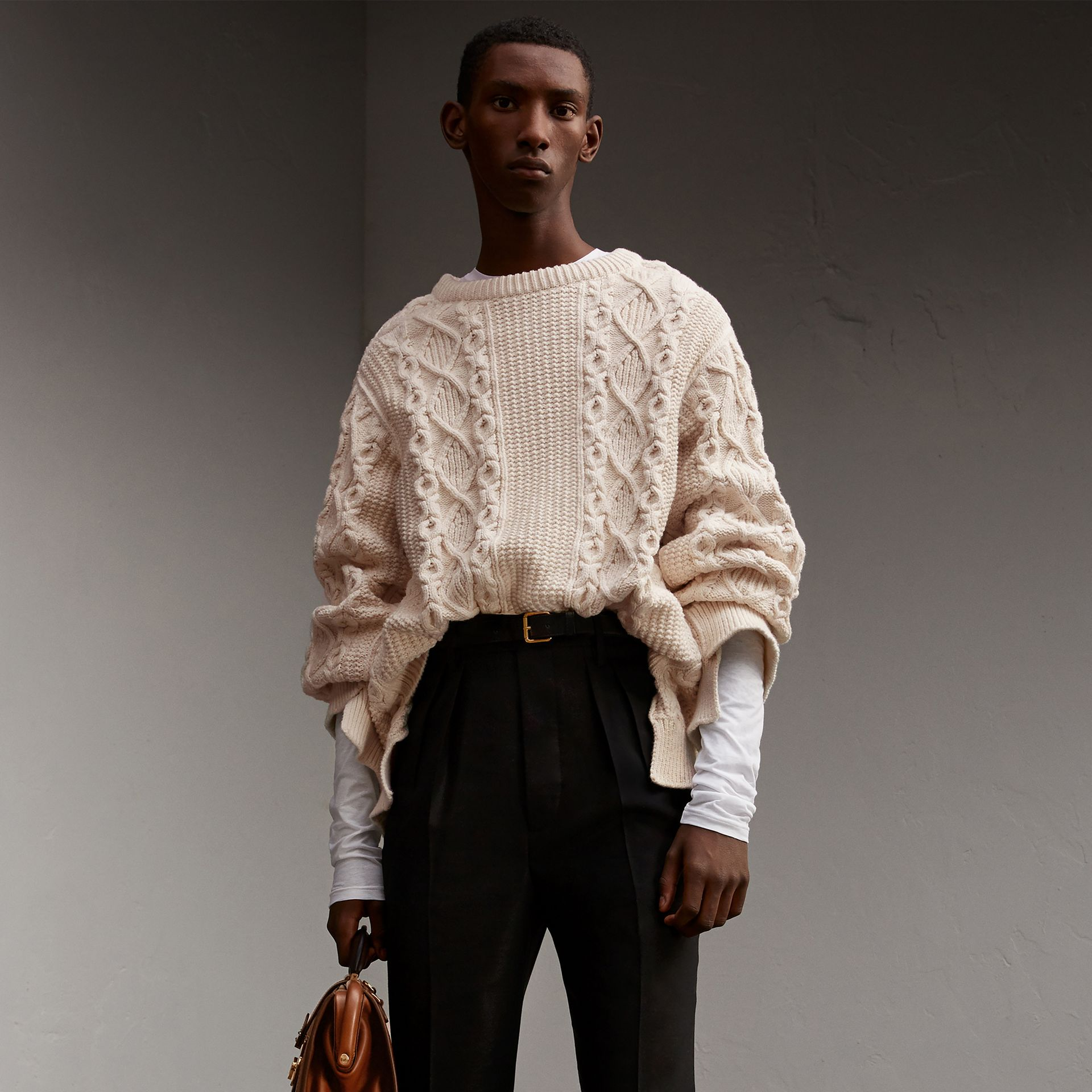 Cotton, Wool and Cashmere Blend Sculptural Sweater - Men | Burberry - gallery image 1