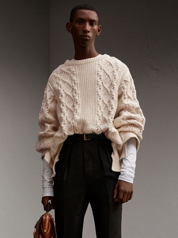Cable Knit Cotton, Wool and Cashmere Blend Sculptural Sweater