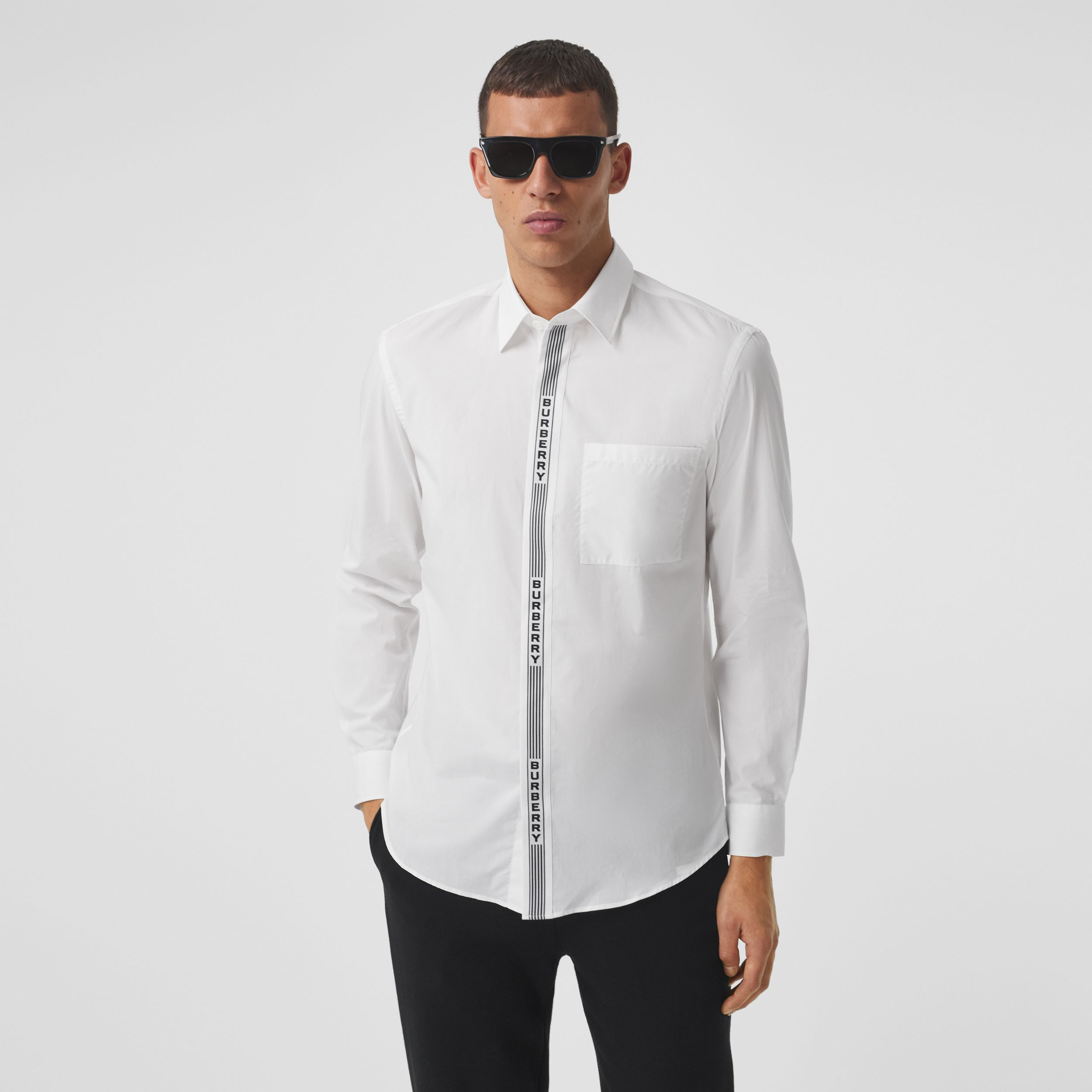 Logo Tape Cotton Shirt in White/black - Men | Burberry - 1