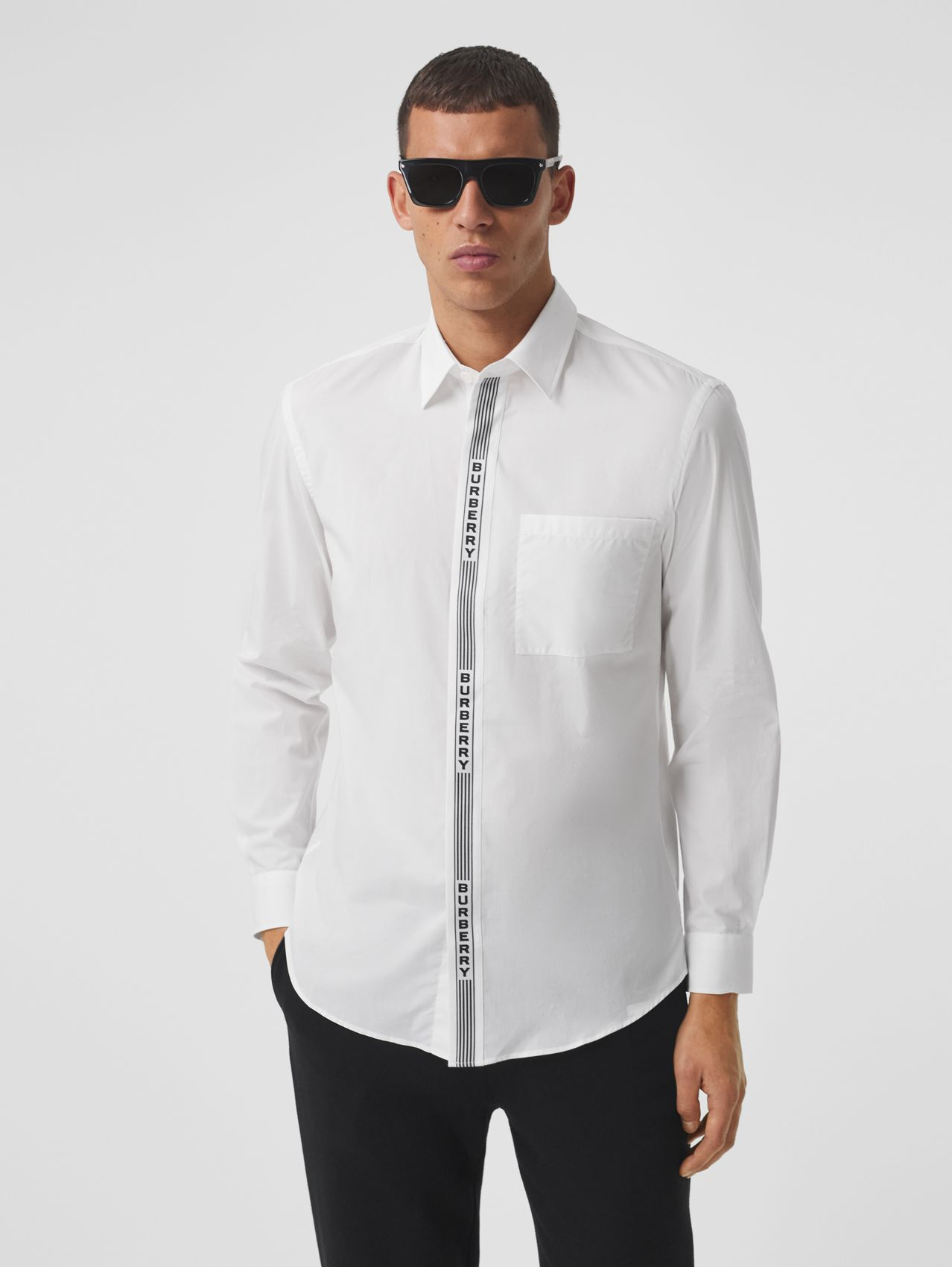 Logo Tape Cotton Shirt in White/black