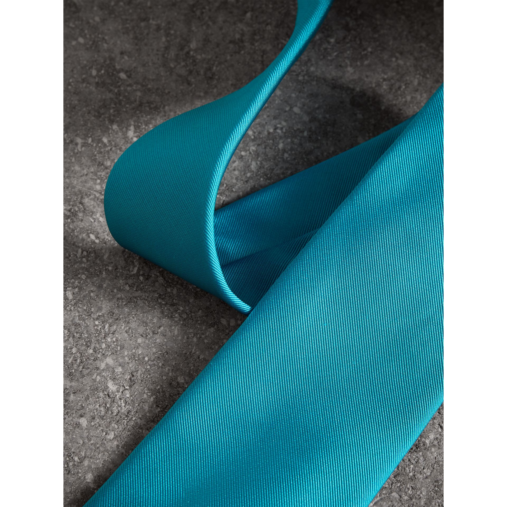 Modern Cut Silk Tie in Bright Aqua - Men | Burberry - gallery image 1