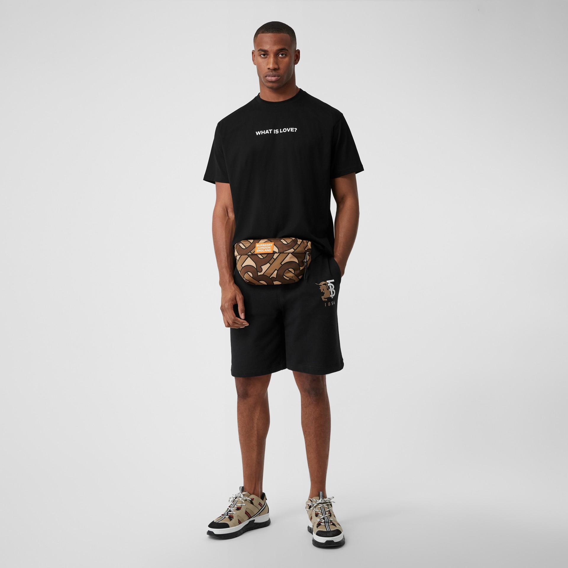 Love Slogan Cotton Oversized T-shirt in Black - Men | Burberry United Kingdom - gallery image 5