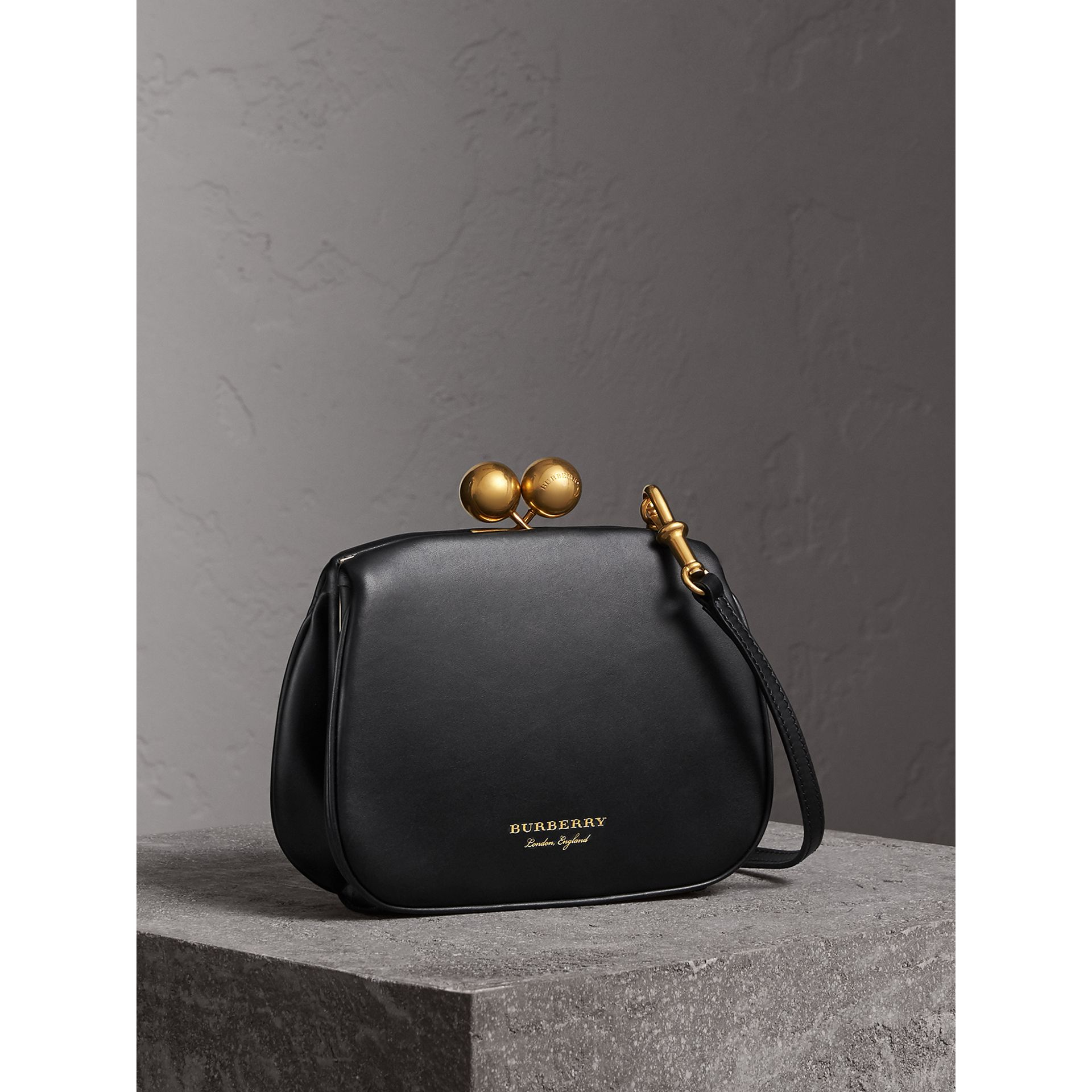 Small Leather Metal Frame Clutch Bag in Black - Women | Burberry - gallery image 5