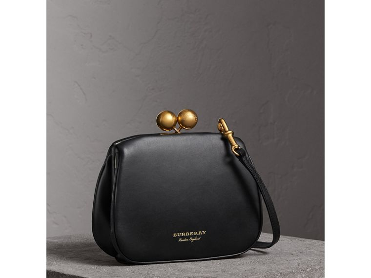Small Leather Metal Frame Clutch Bag in Black - Women | Burberry - cell image 4