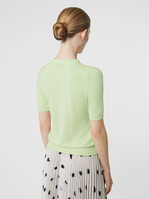 Monogram Motif Cashmere Top in Pistachio - Women | Burberry - cell image 2