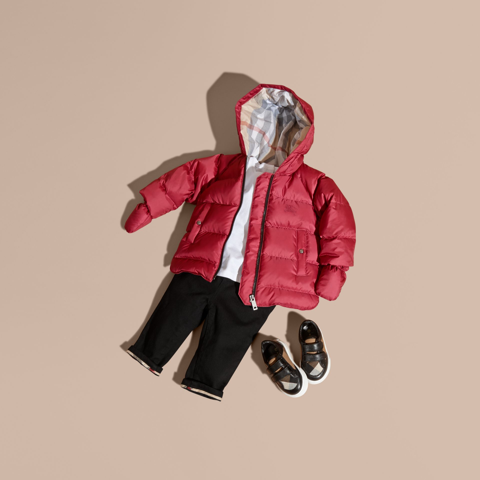 Hooded Down-filled Puffer Jacket with Mittens in Peony Rose - gallery image 1