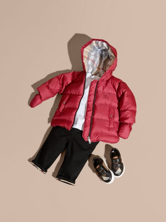 Hooded Down-filled Puffer Jacket with Mittens in Peony Rose
