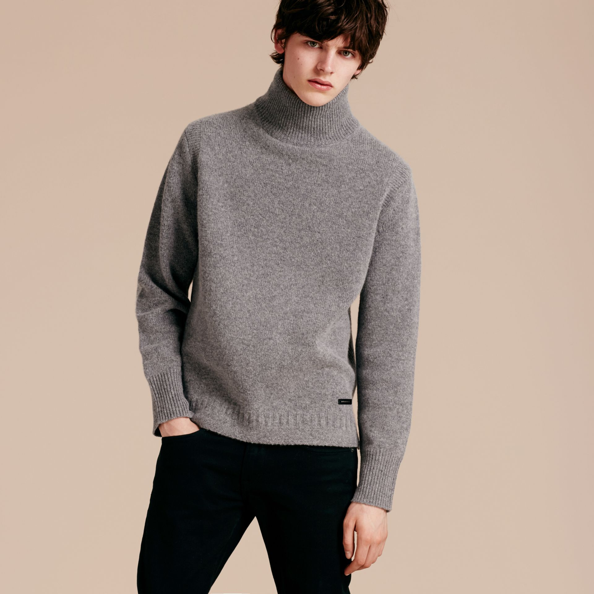 Mid grey melange Funnel Neck Wool Sweater Mid Grey Melange - gallery image 6
