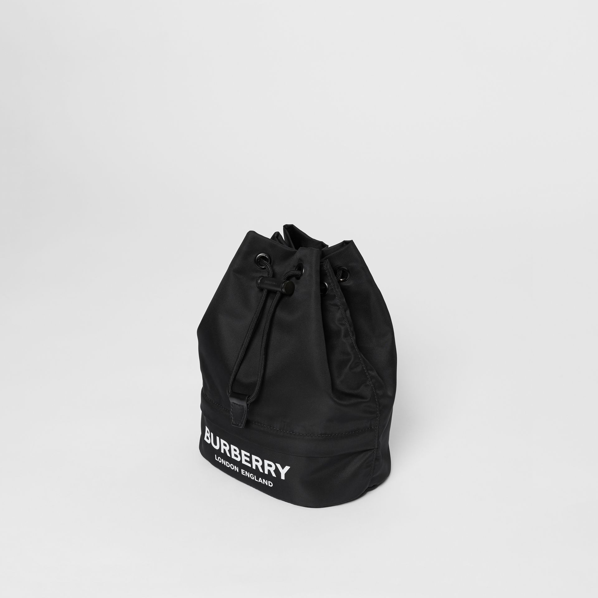 Logo Print Nylon Drawcord Pouch in Black - Women | Burberry - gallery image 3