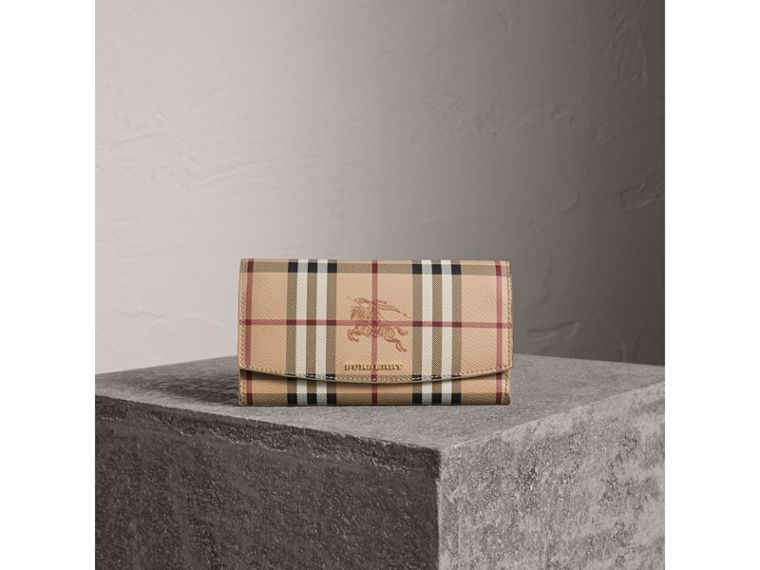 Haymarket Check and Leather Slim Continental Wallet in Mid Camel - Women | Burberry Australia - cell image 4