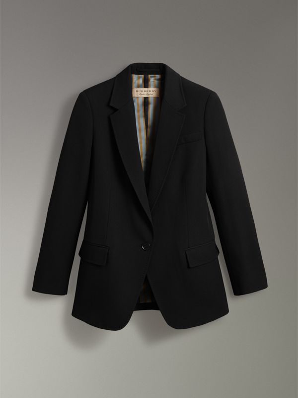 Slim Fit Topstitch Detail Wool Tailored Jacket in Black - Women | Burberry - cell image 3