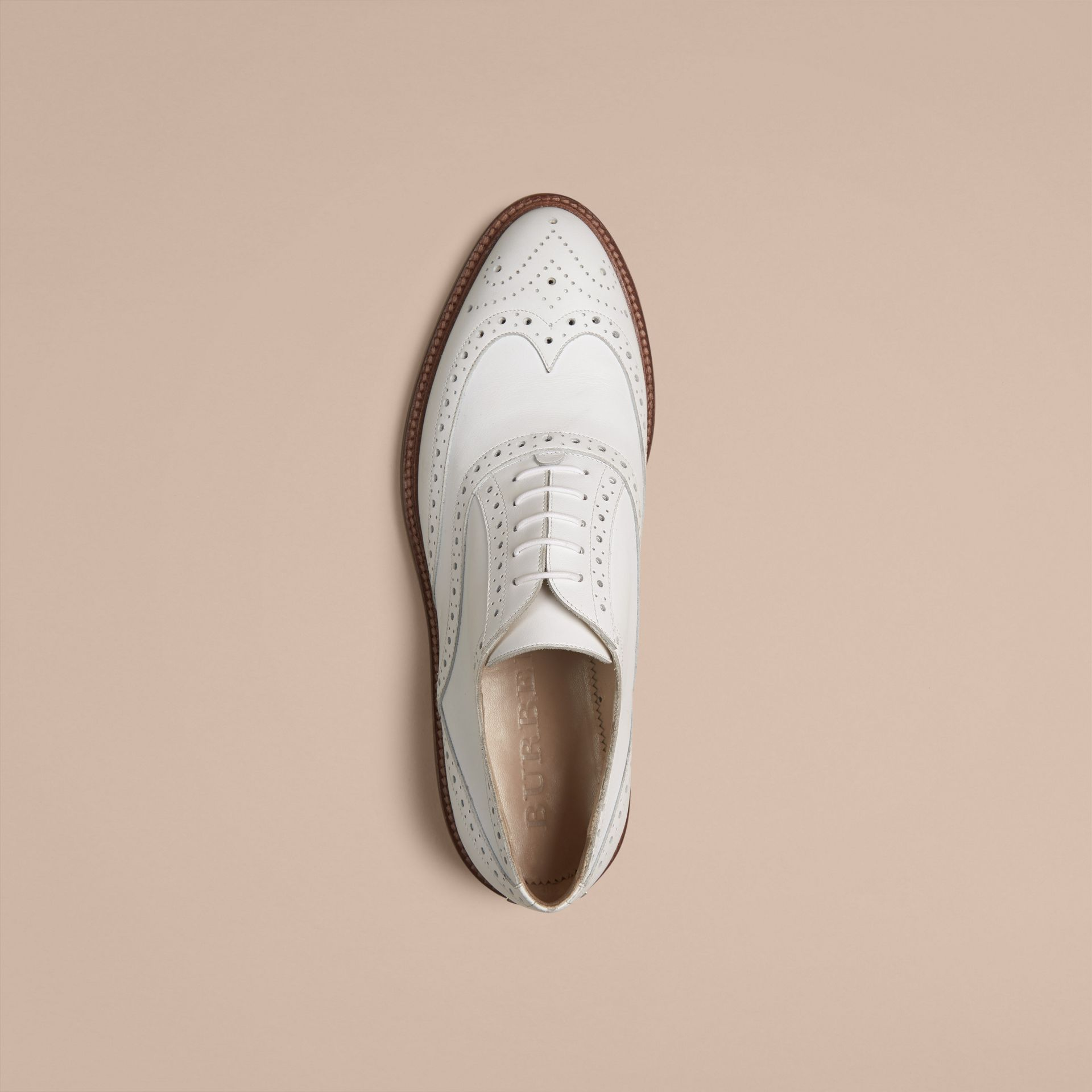 Optic white Leather Wingtip Brogues - gallery image 3