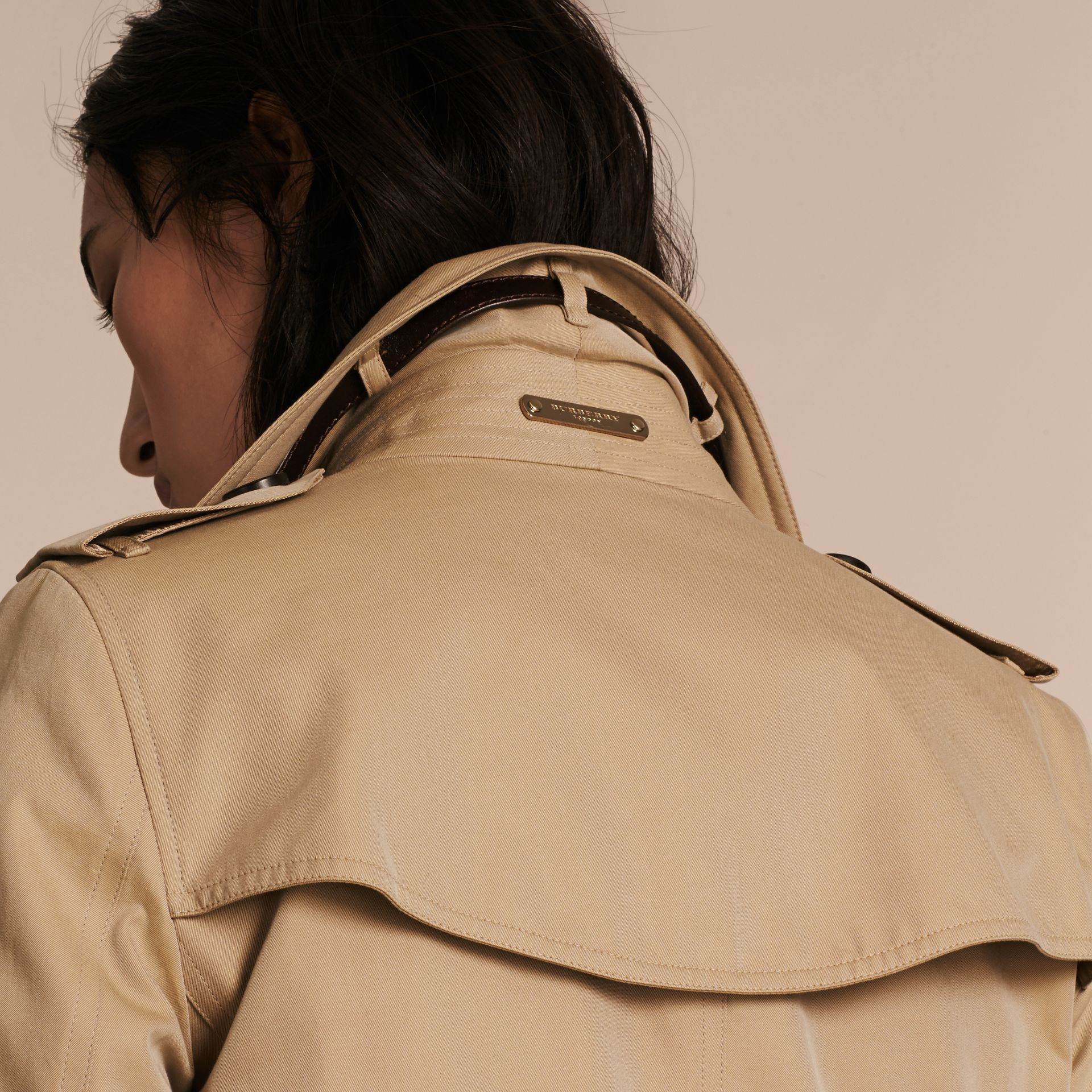 Honey Leather Detail Cotton Gabardine Trench Coat Honey - gallery image 7