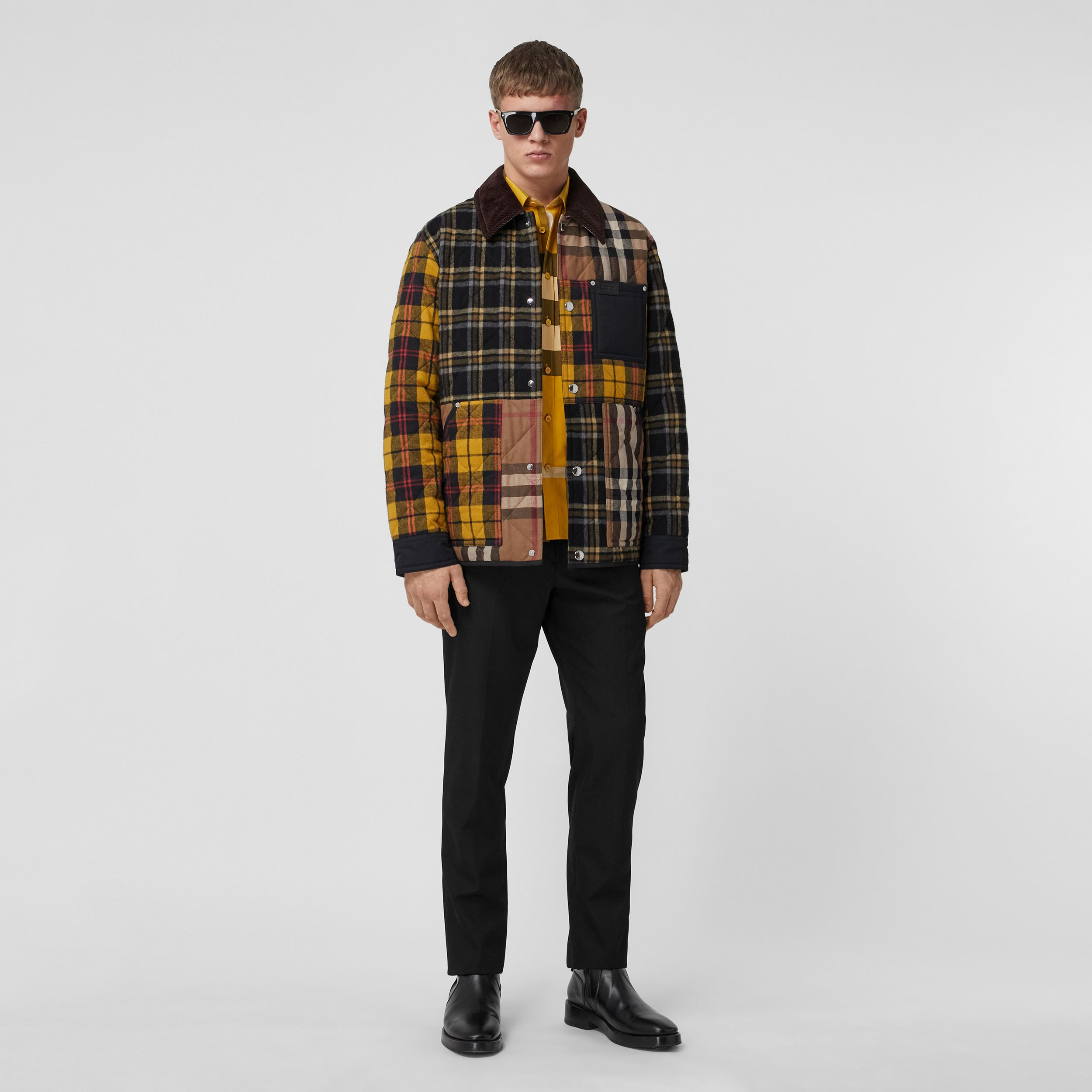Corduroy Collar Patchwork Check Cotton Overshirt in Birch Brown - Men | Burberry United Kingdom - 1