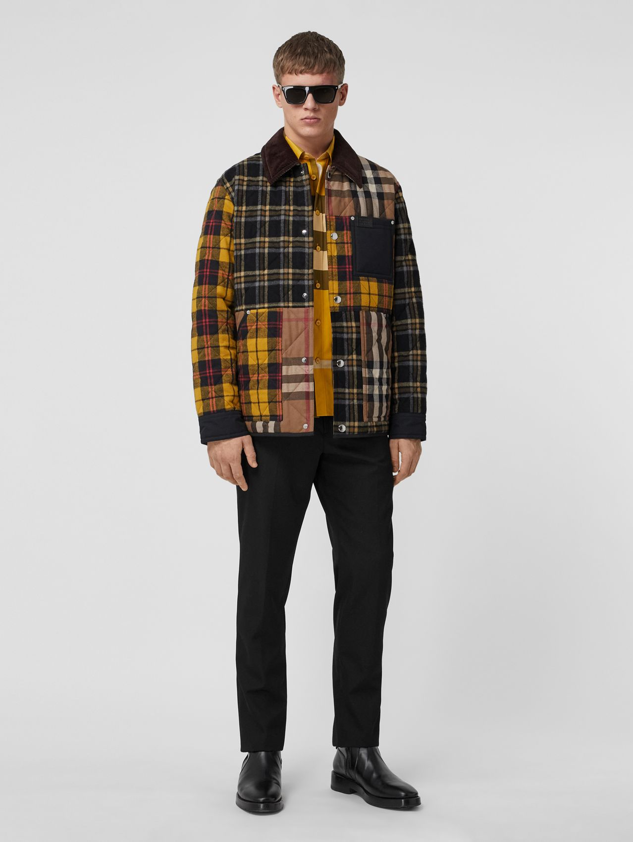 Corduroy Collar Patchwork Check Cotton Overshirt in Birch Brown