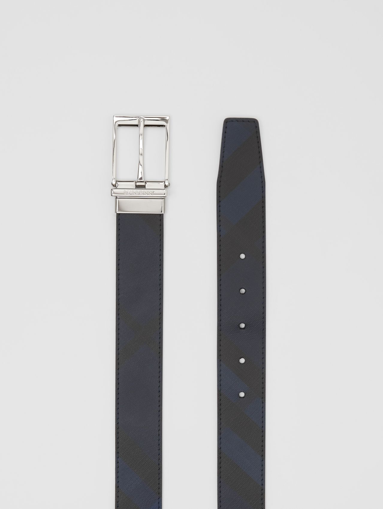 Reversible London Check and Leather Belt in Navy/blue
