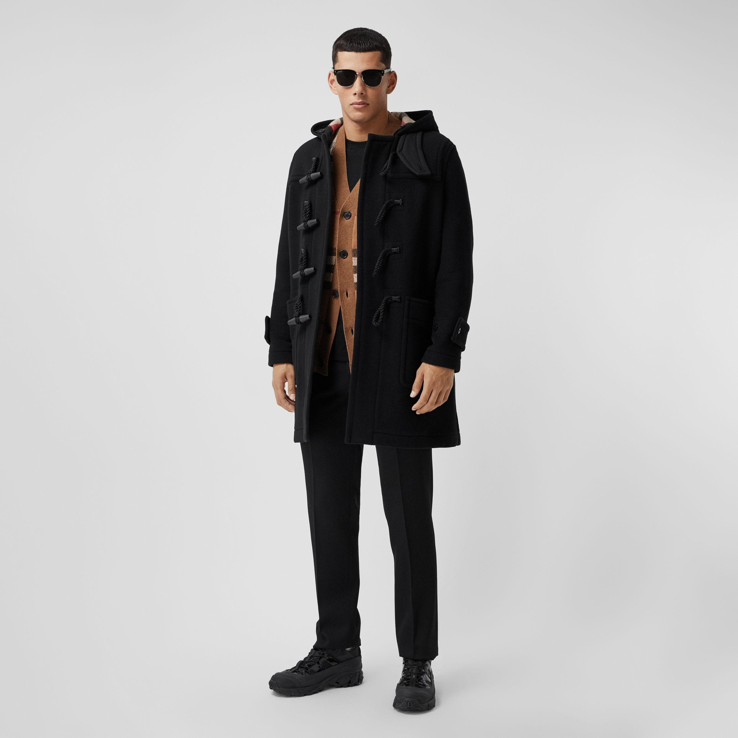 Check-lined Technical Wool Duffle Coat in Black - Men | Burberry Canada - 1