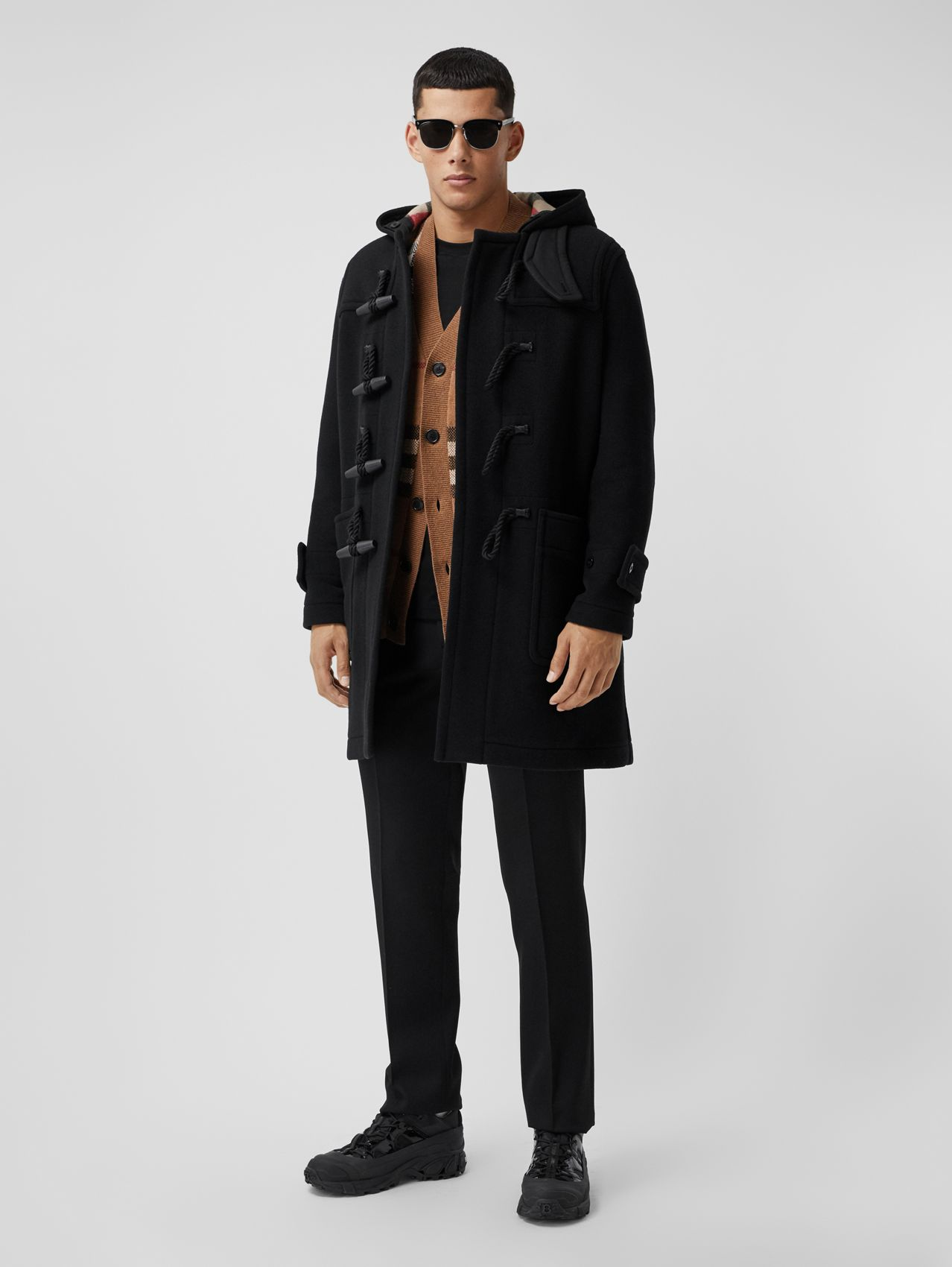 Check-lined Technical Wool Duffle Coat in Black