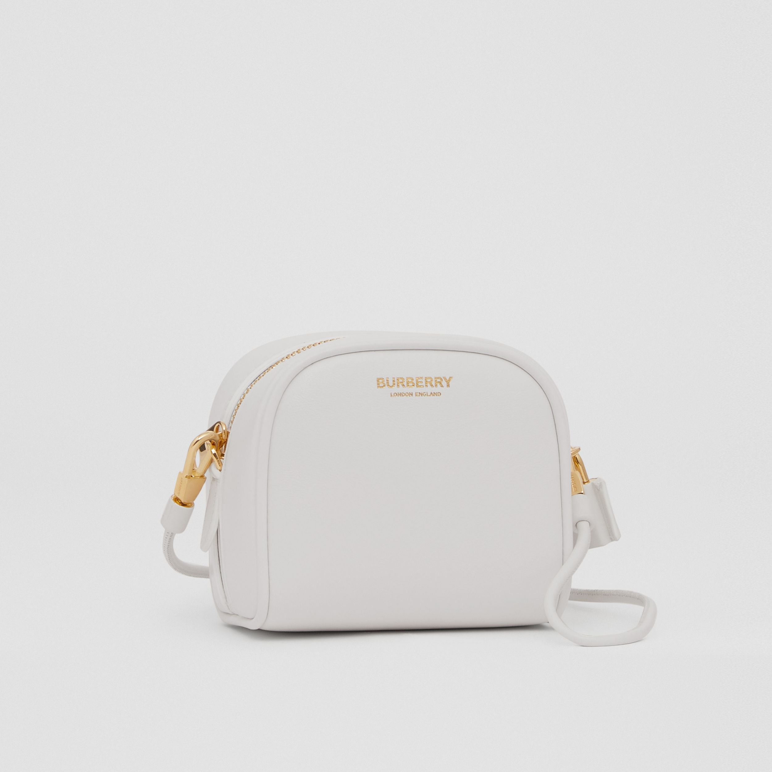Micro Leather Cube Bag in Optic White | Burberry - 4