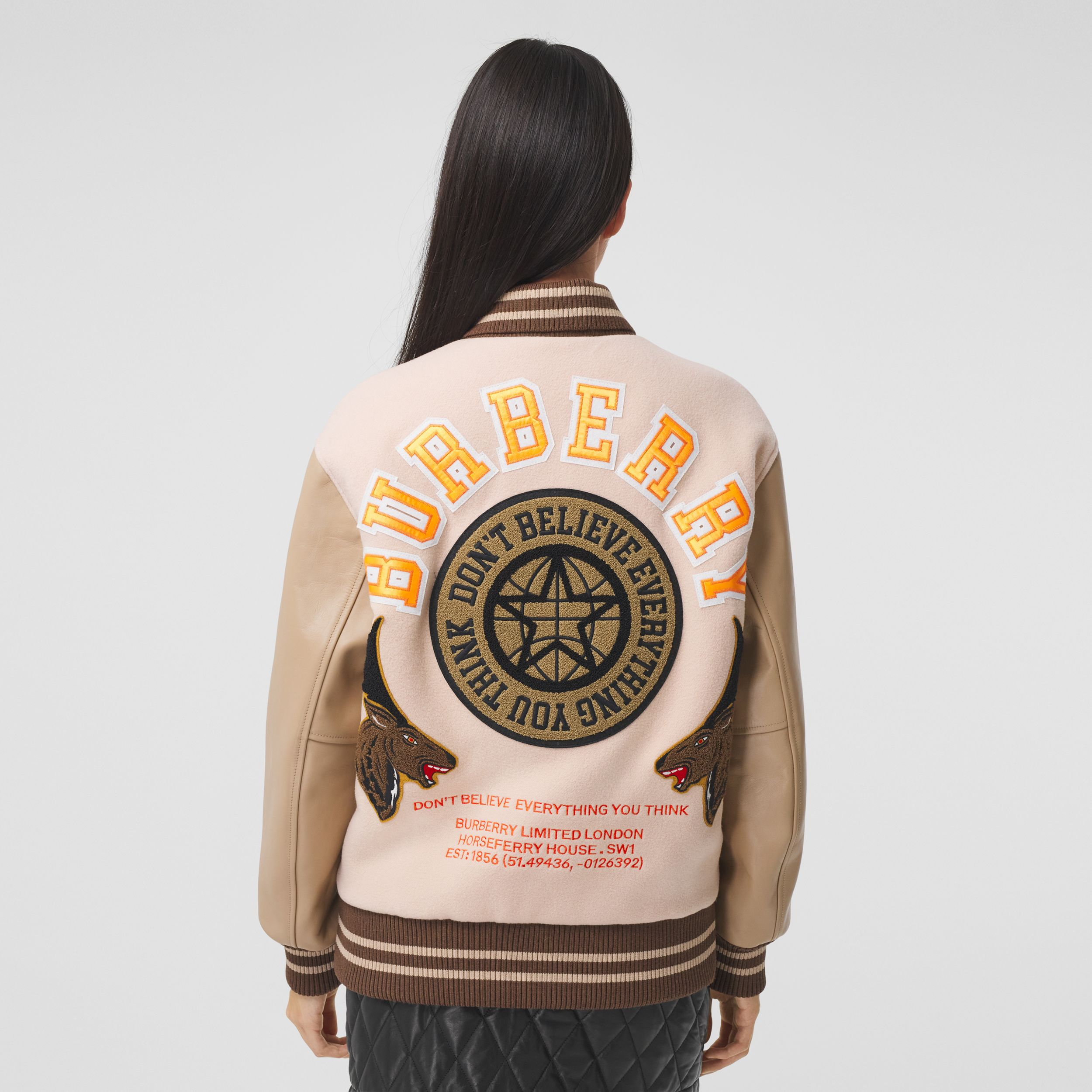 Varsity Graphic Wool and Leather Bomber Jacket in Rose Pink - Women | Burberry Australia - 3