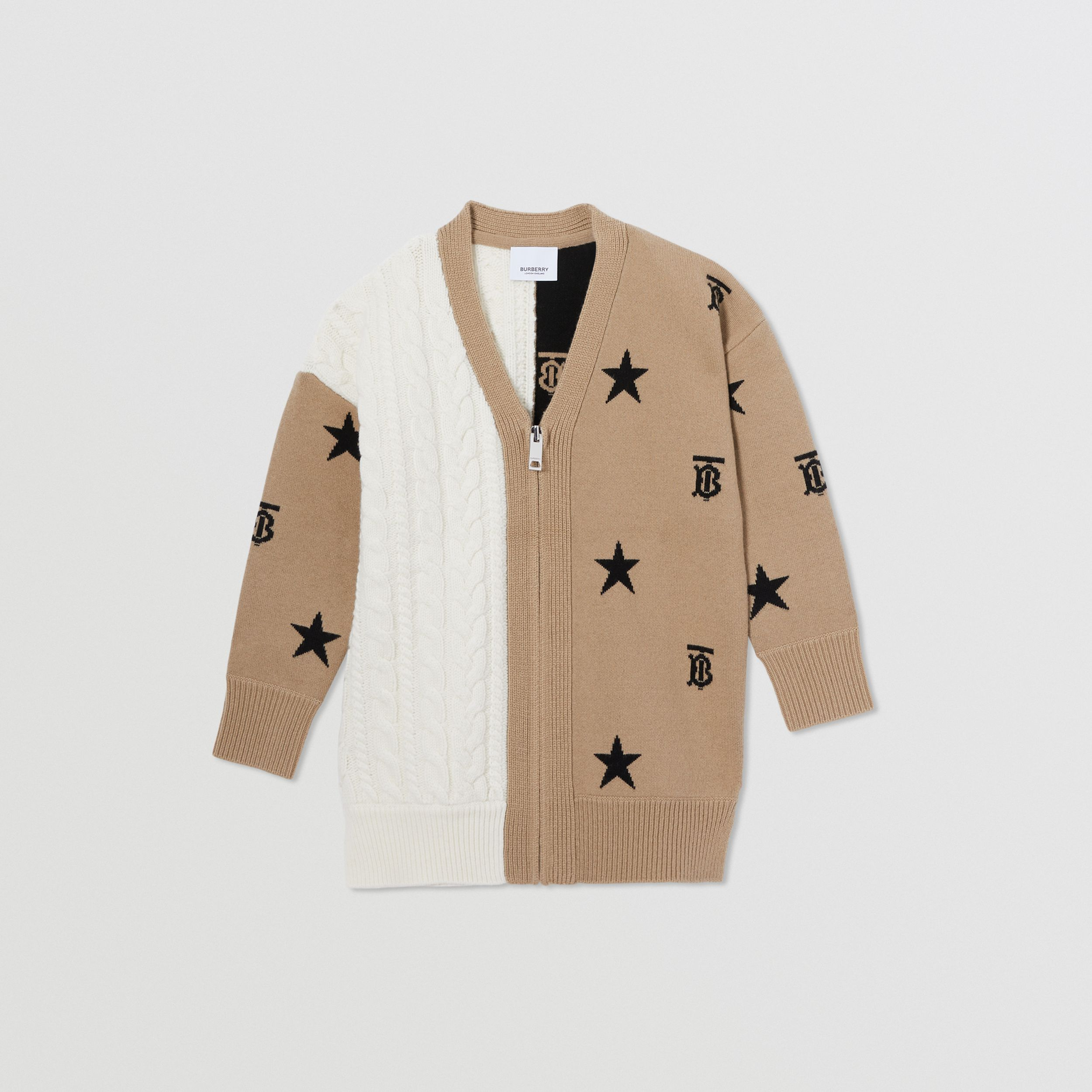 Star and Monogram Motif Wool Cashmere Cardigan in Archive Beige | Burberry United Kingdom - 1
