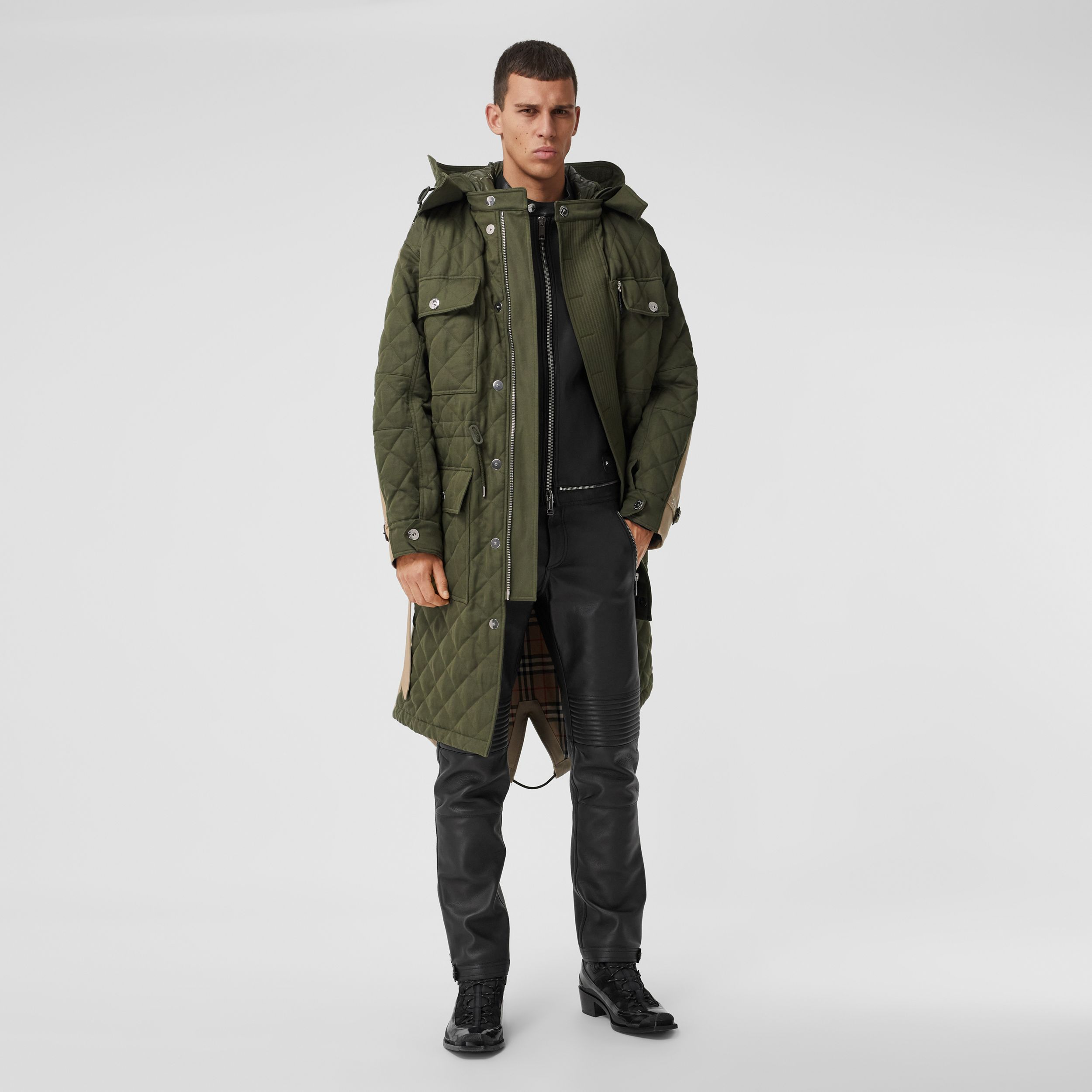 Detachable Hood Quilted Ramie Cotton Parka in Olive Green - Men | Burberry - 1