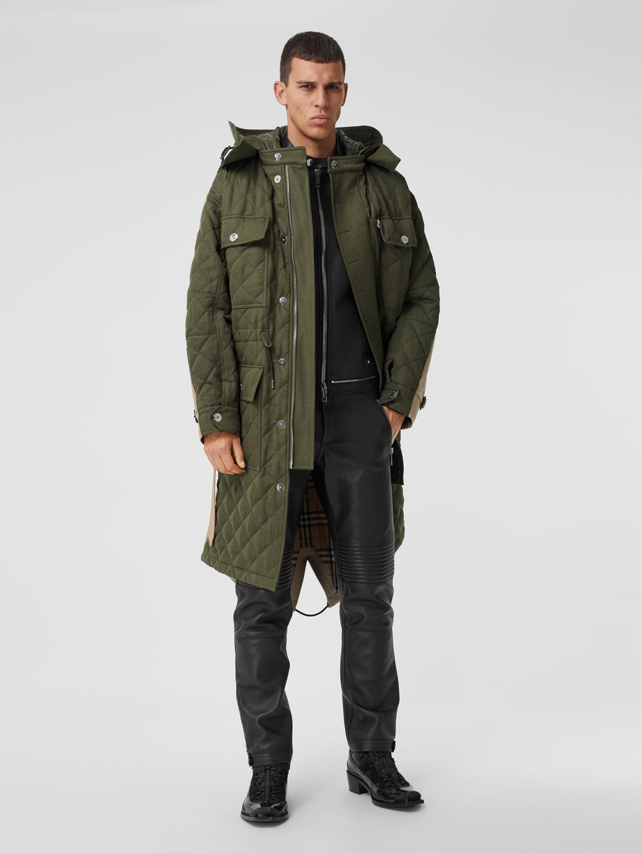 Detachable Hood Quilted Ramie Cotton Parka in Olive Green