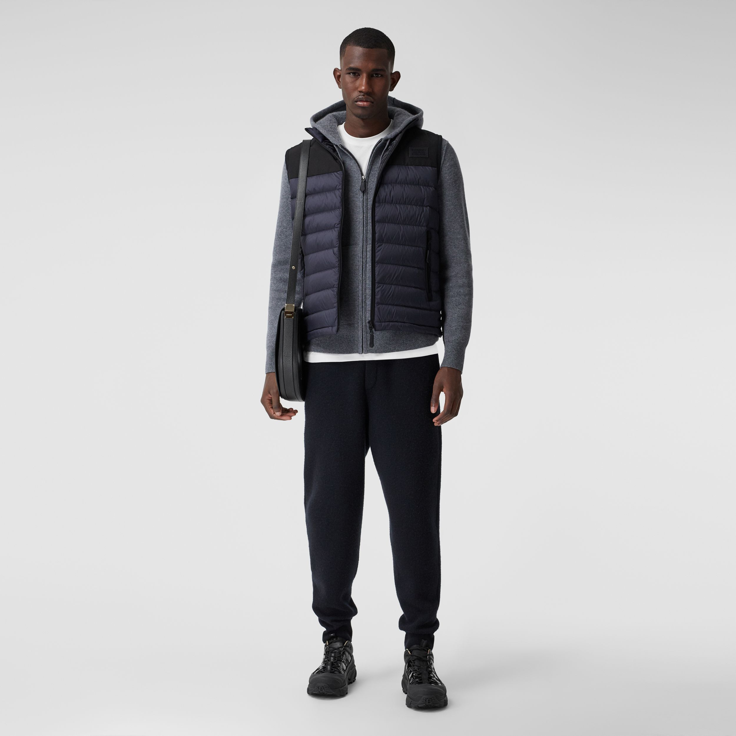 Logo Appliqué Lightweight Puffer Gilet in Navy - Men | Burberry - 1