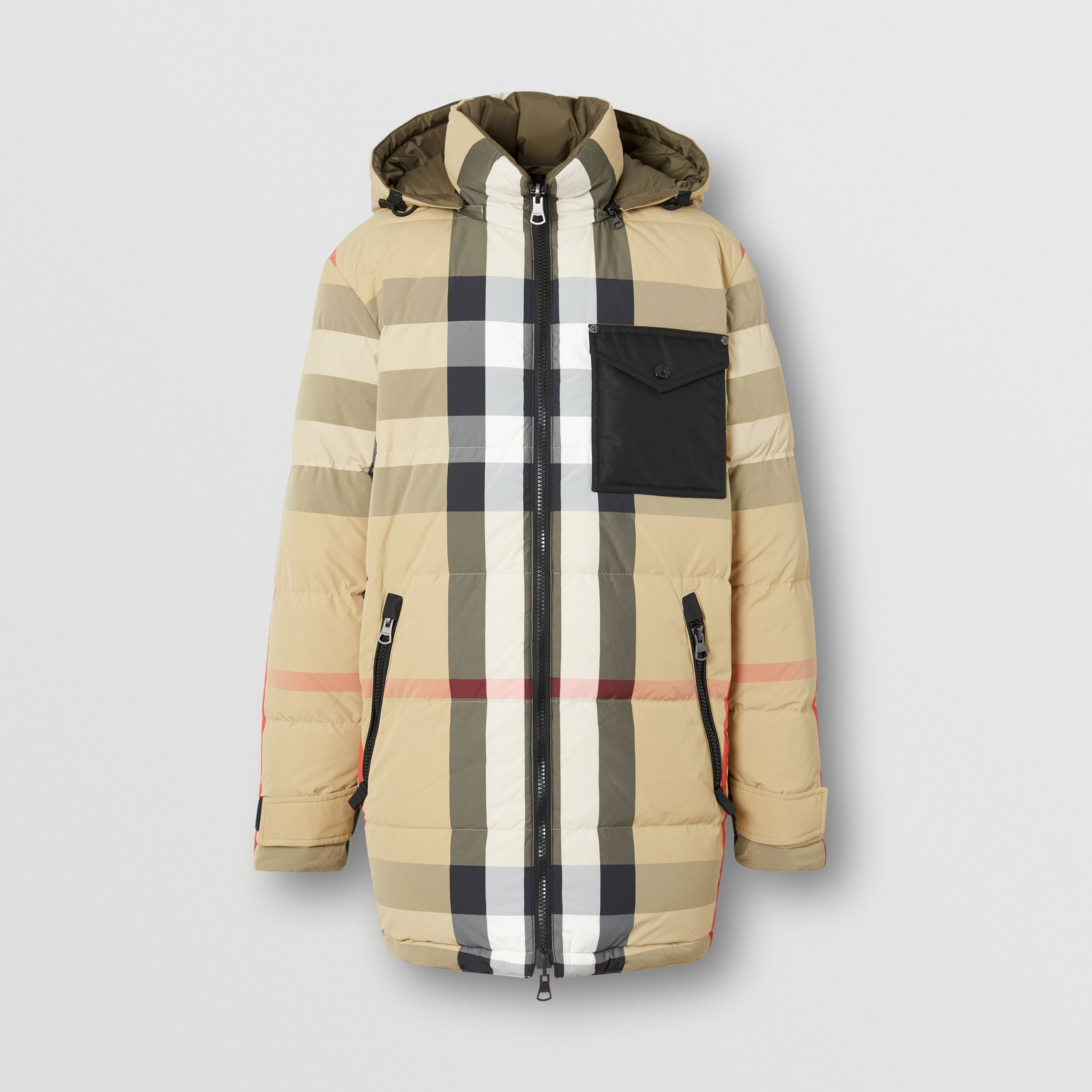 Reversible Check Recycled Nylon Puffer Jacket in Archive Beige/olive - Men | Burberry - 4