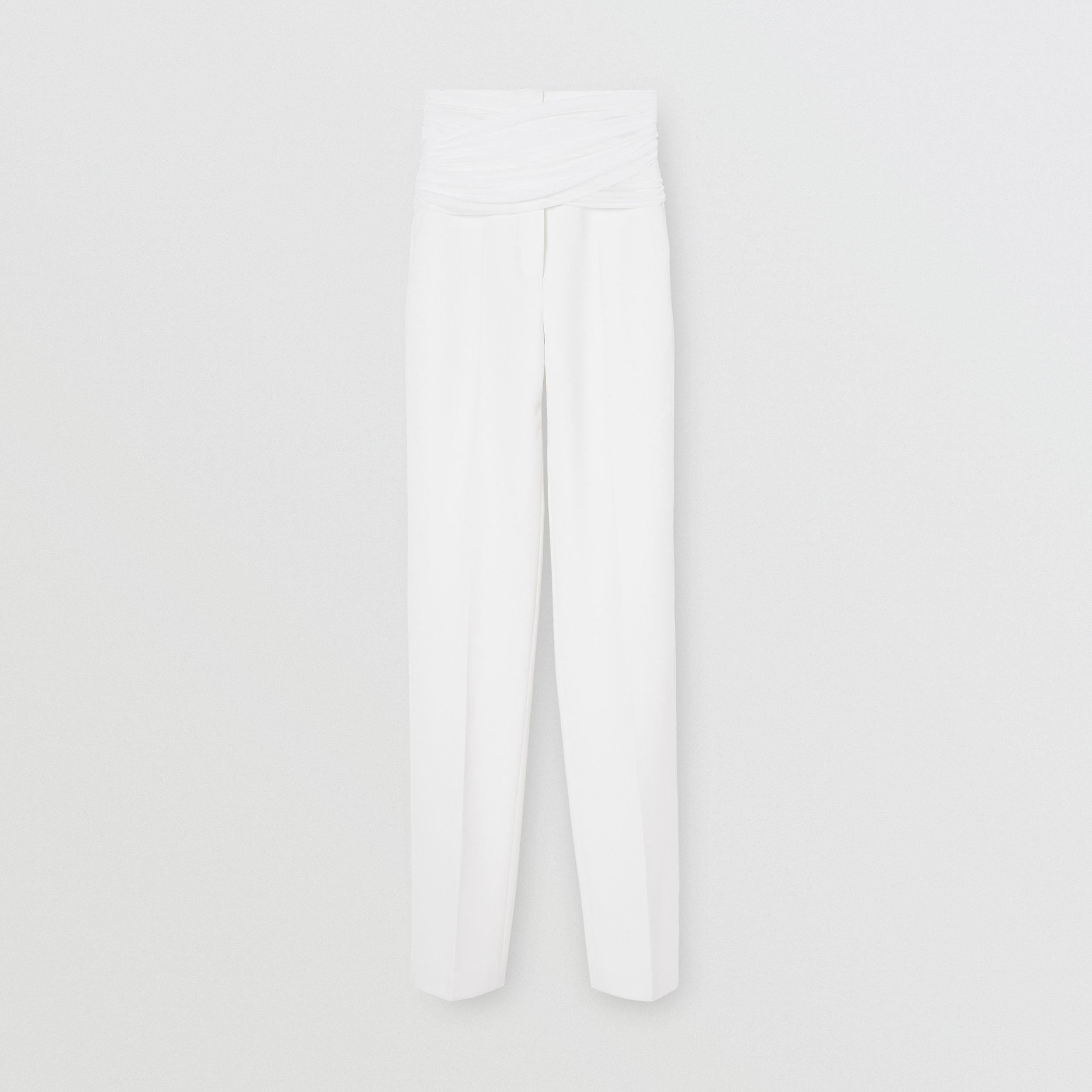 Sash Detail Technical Wool Tailored Trousers in Optic White - Women | Burberry Singapore - 4