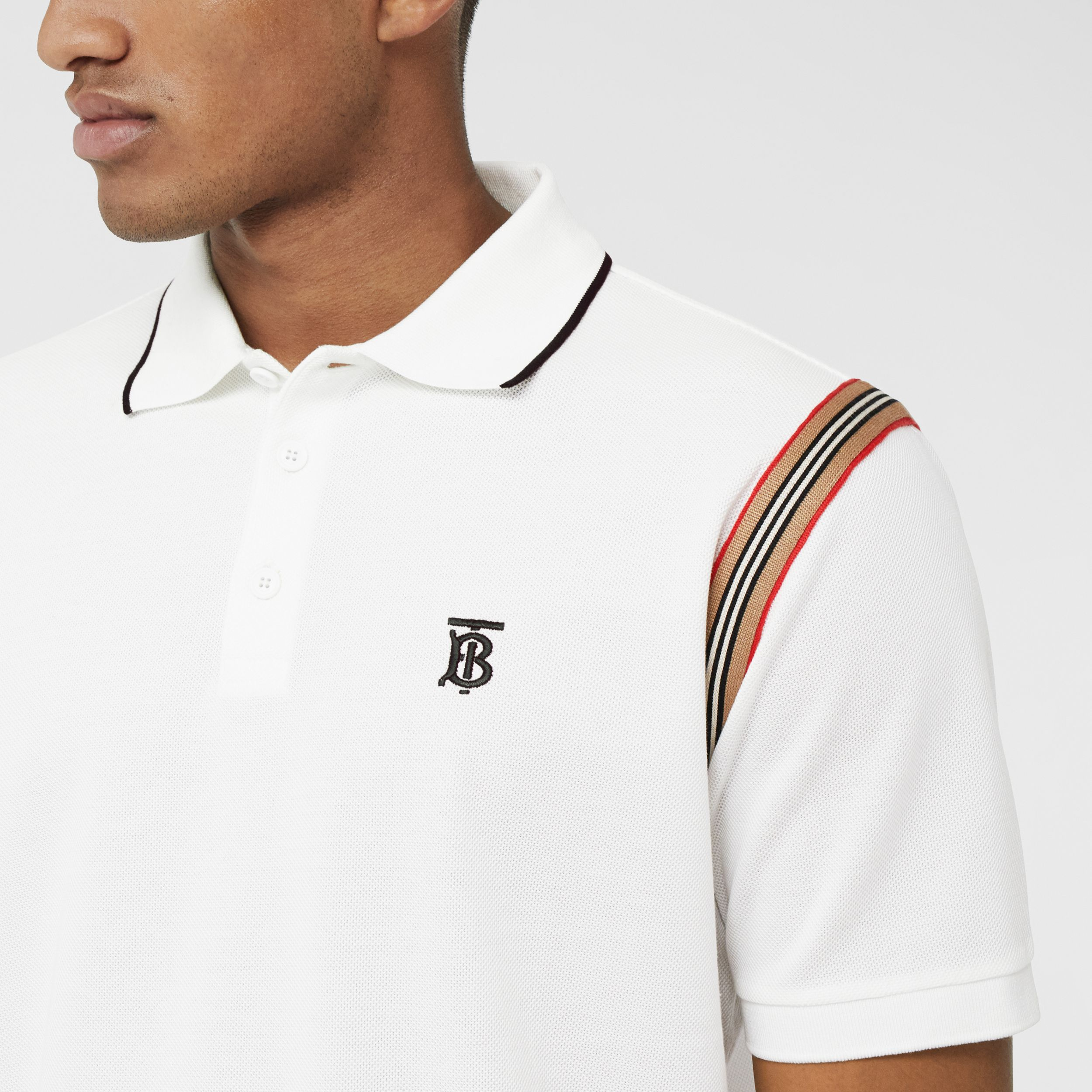 Icon Stripe Trim Monogram Motif Cotton Polo Shirt in White - Men | Burberry - 2