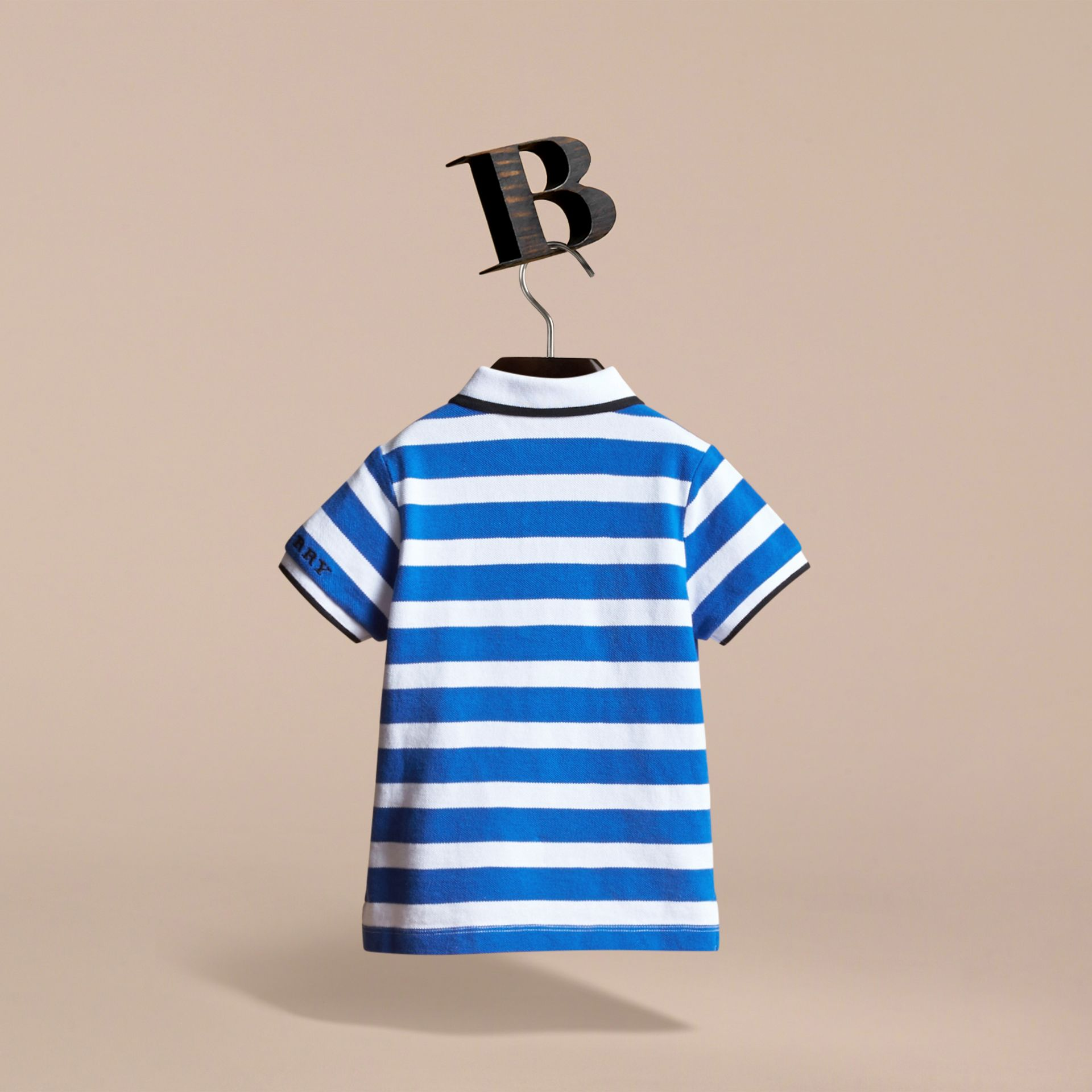 Striped Cotton Polo Shirt in Cerulean Blue | Burberry - gallery image 4