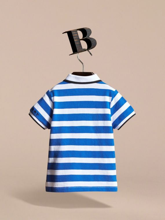 Striped Cotton Polo Shirt in Cerulean Blue | Burberry - cell image 3