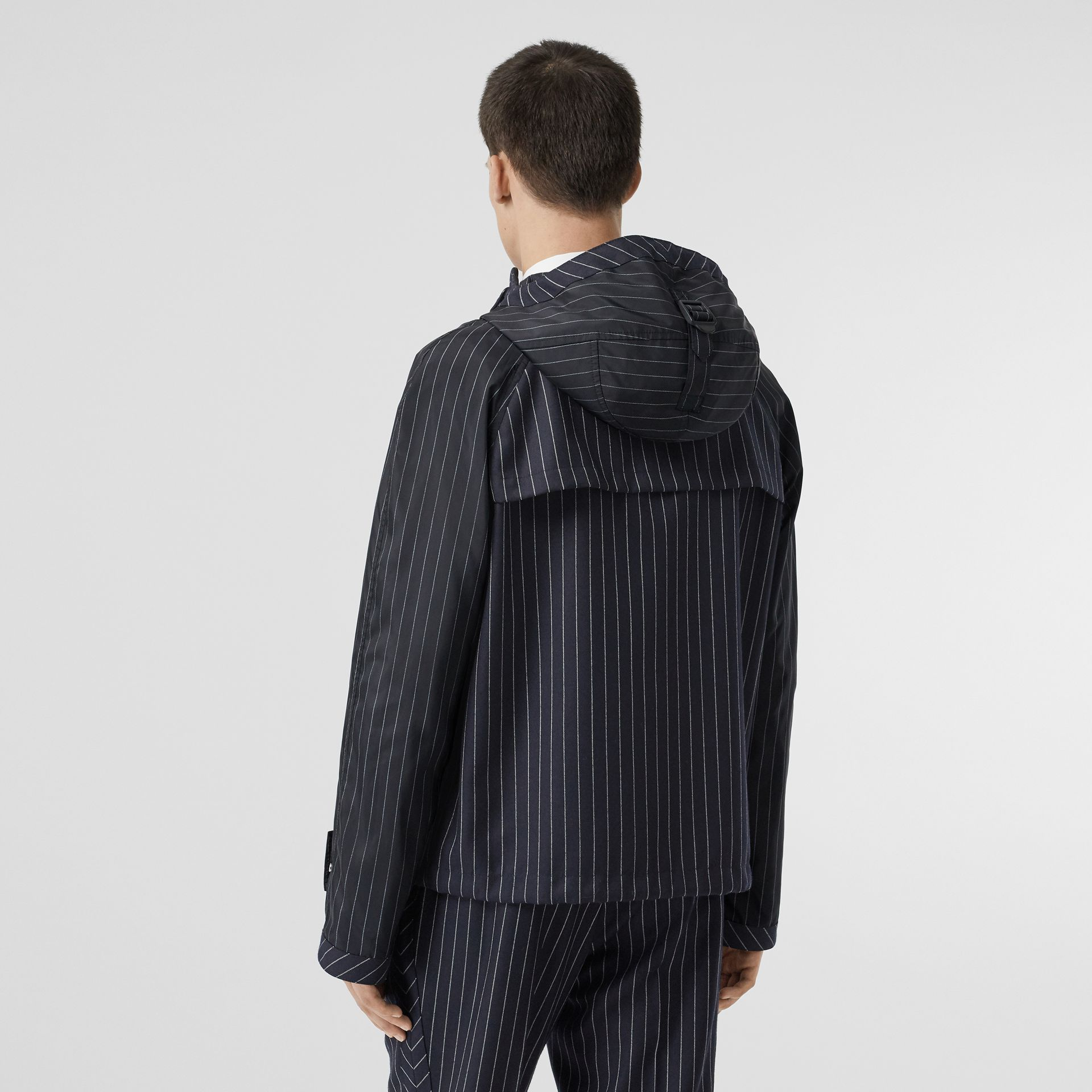 Pinstriped Wool Hooded Jacket in Dark Navy/white | Burberry - gallery image 2