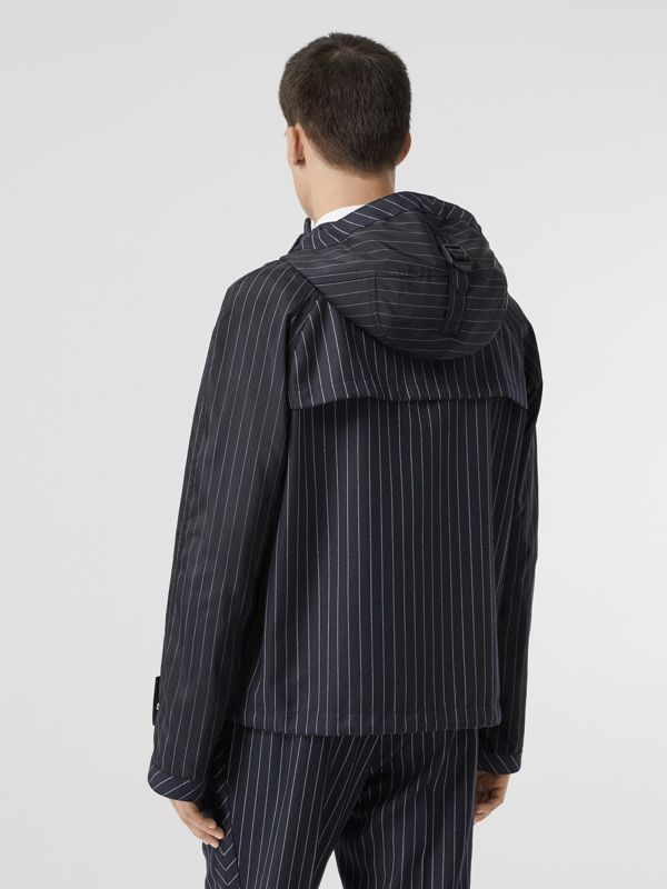 Pinstriped Wool Hooded Jacket in Dark Navy/white | Burberry - cell image 2
