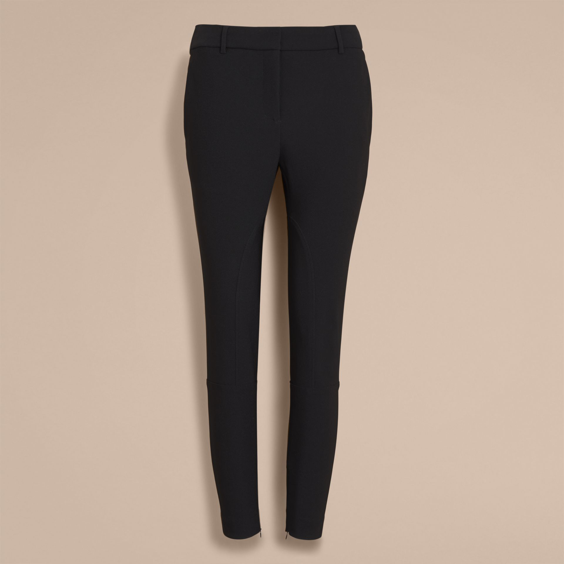 Cropped Slim Fit Trousers in Black - Women | Burberry - gallery image 4